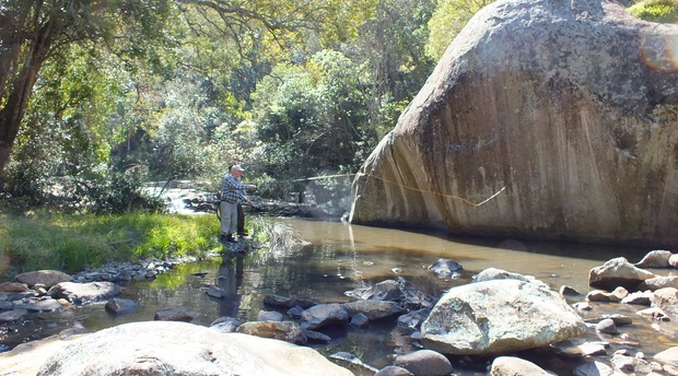 Wild fly fishing in the Karoo for trout.  Somerset East, Eastern Cape, South Africa