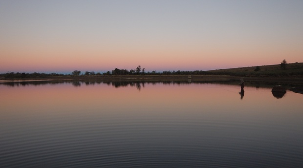 Beautiful sunset fishing on Mountain Dam, Somerset East