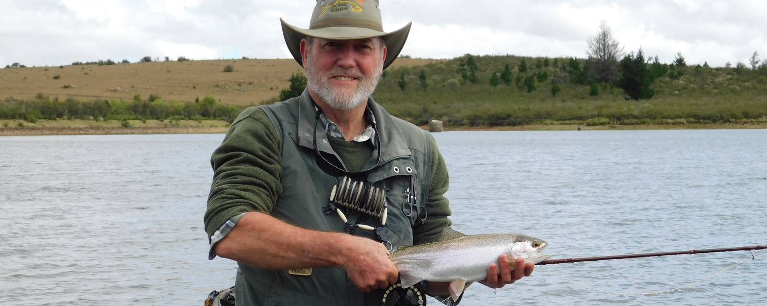 Alan Hobson with a Karoo Trout, Wild Fly Fishing in the Karoo