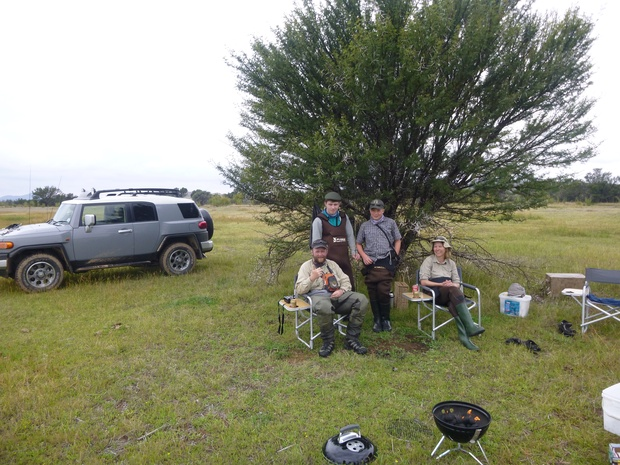 Wild fly fishing in the Karoo, enjoying the fresh Karoo air near Somerset East in the Eastern Cape of South Africa