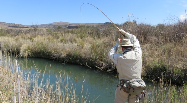 Fly Fishing for trout, small stream, bamboo rod; Wild Fly Fishing in the Karoo